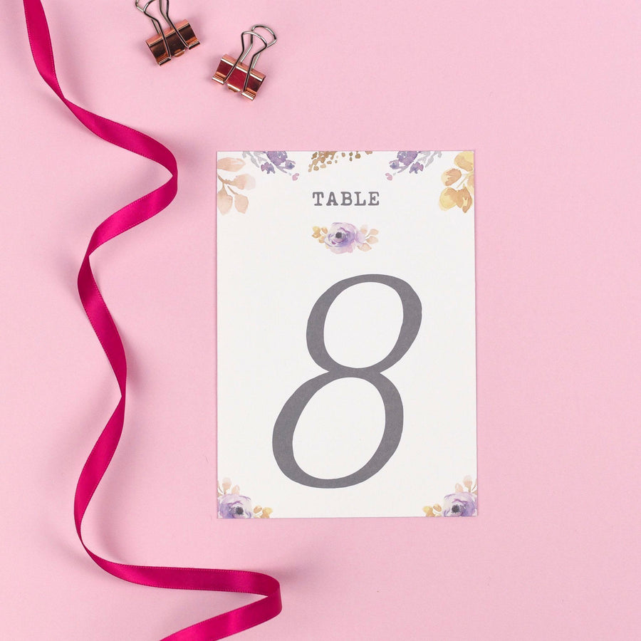 Table Names or Numbers - Viola - Vintage Watercolour Flowers
