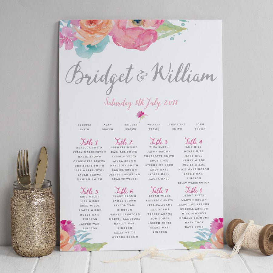 Table Plan - Bridget Watercolour Flowers