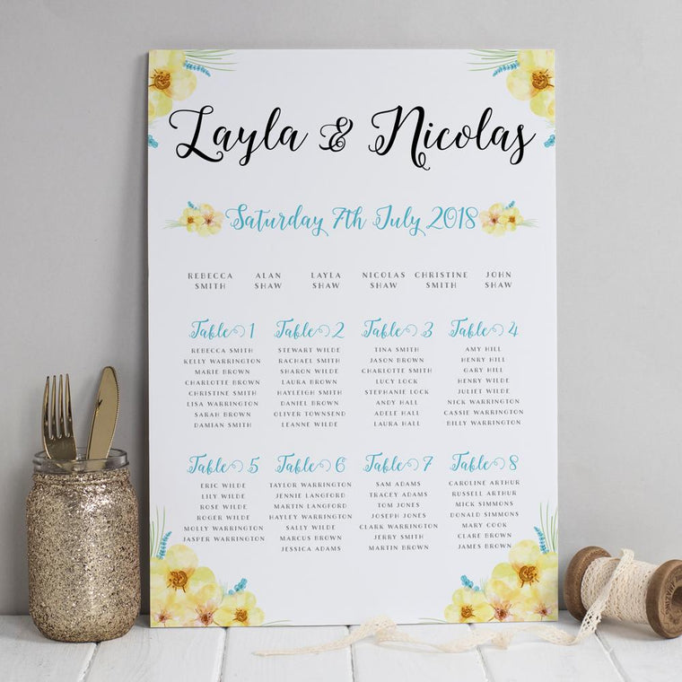 Table Plan - Table Plan -  Layla Spring Florals