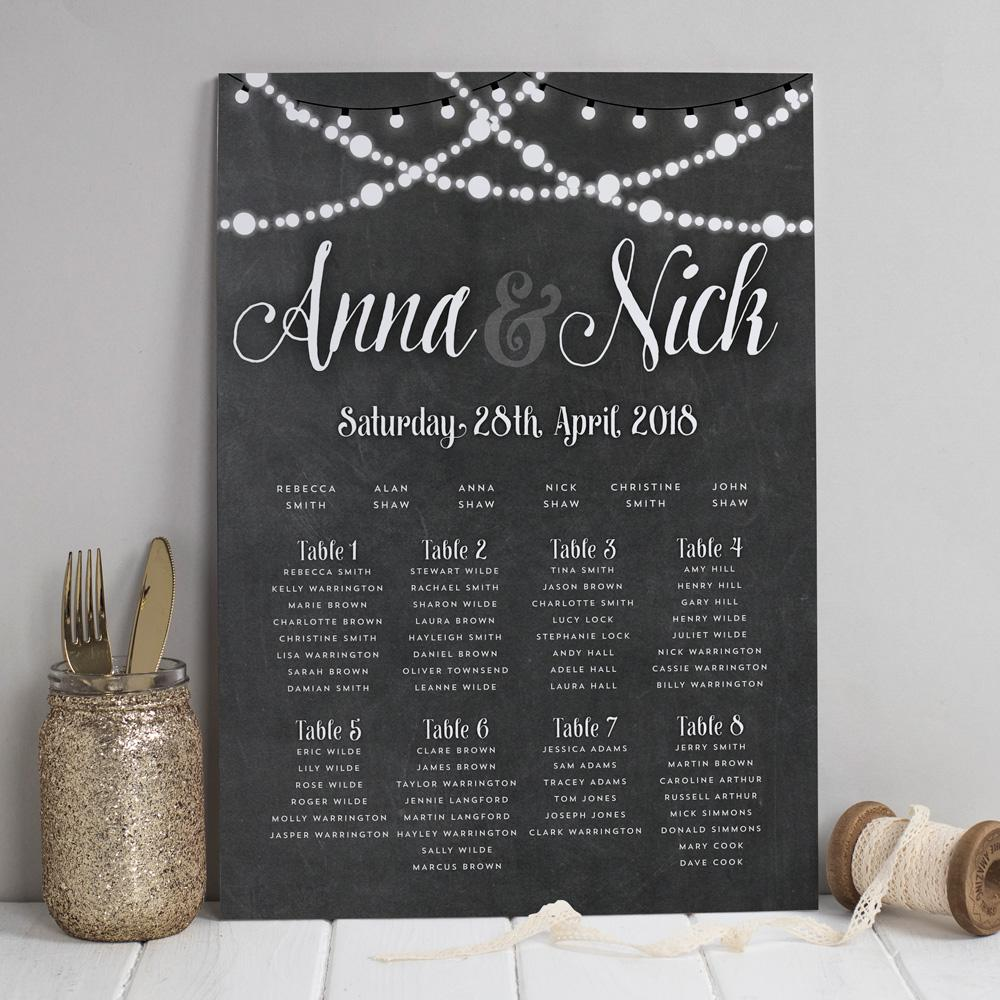 Table Plan - Lizzie Chalkboard Fairy Lights