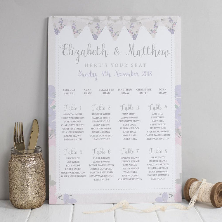 Table Plan - Table Plan -  Violet Vintage Fabric Bunting