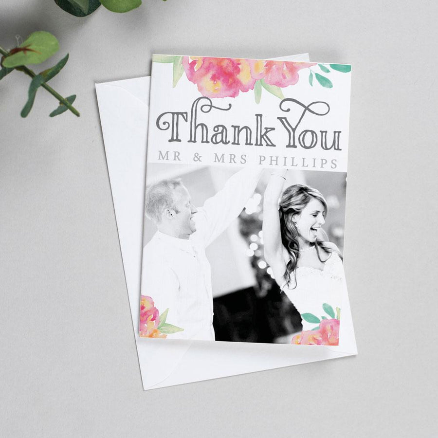 Photo Thank You Cards - Christine - Watercolour Flowers