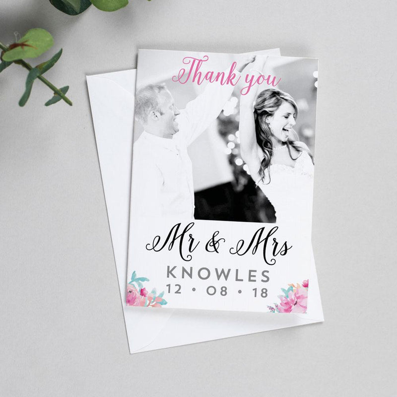 Photo Thank You Cards - Selena - Watercolour Flowers