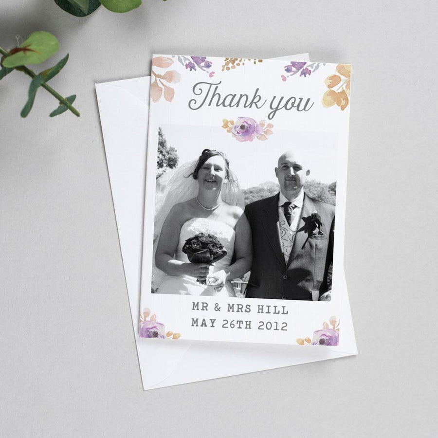 Photo Thank You Cards - Viola - Watercolour Flowers
