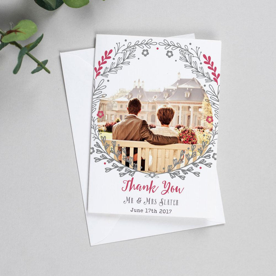 Photo Thank You Cards - Willow - Rustic Wreath