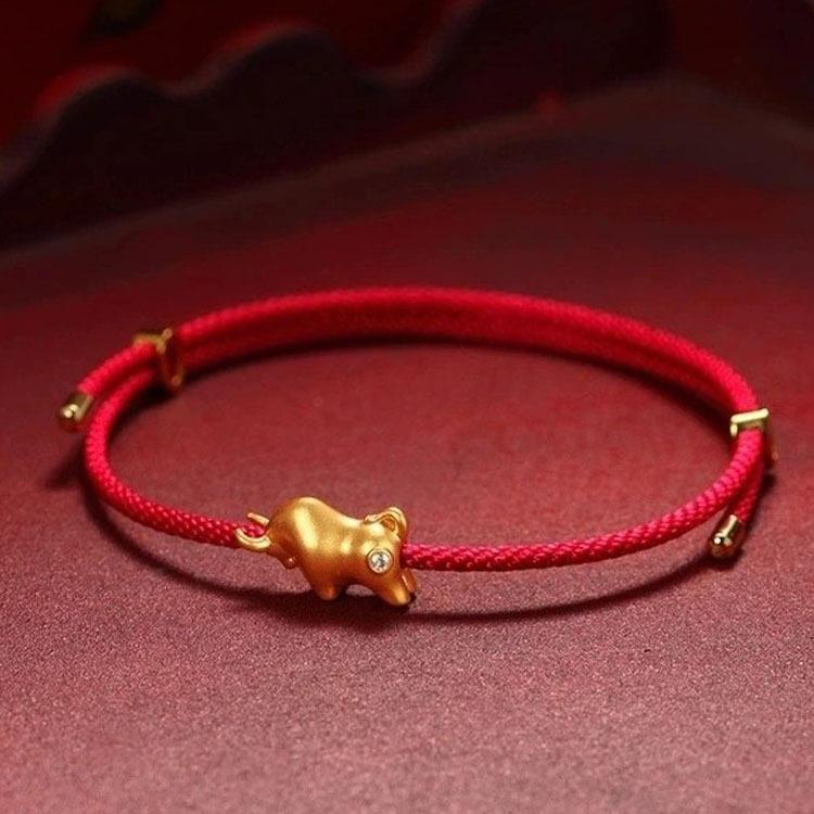 18K Gold Ox Diamond Wealth Red Rope Bracelet 2021 Chinese New Year Wealth Bracelet - FengshuiGallary