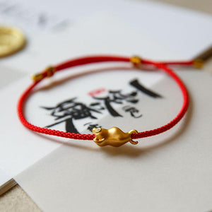 2021 Chinese New Year Gold OX Diamond Setting Red Rope Wealth Bracelet - FengshuiGallary