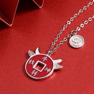 2021 Chinese New Year OX Lucky Coin Pendant Necklace - FengshuiGallary