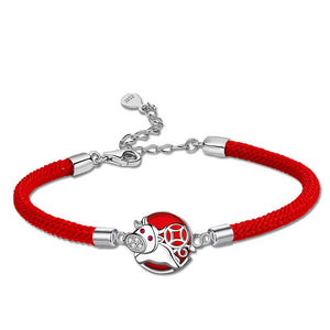 2021 Chinese New Year OX Lucky Coin Red Rope Bracelet - FengshuiGallary
