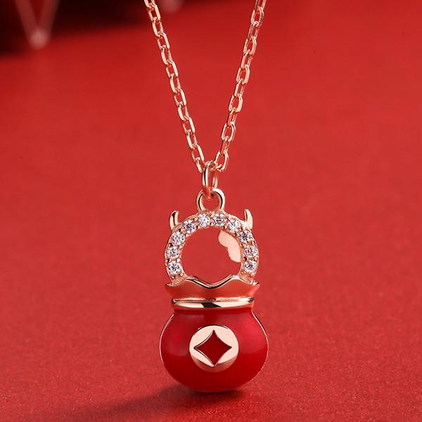2021 Chinese New Year OX Money Bag Lucky Pendant Necklace - FengshuiGallary