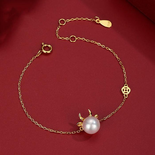 2021 Chinese New Year OX Natural Pearl Gold Lucky Bracelet - FengshuiGallary