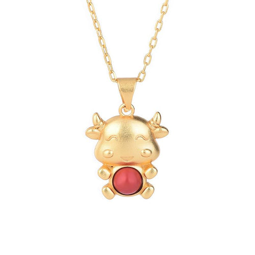 2021 Chinese New Year OX Red Agate Gold Pendant Necklace - FengshuiGallary