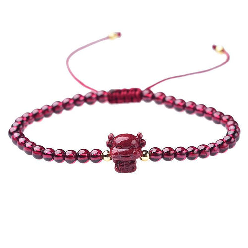 2021 Chinese New Year OX Red Garnet Lucky Bracelet - FengshuiGallary