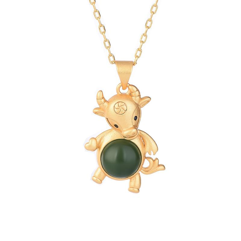 2021 Chinese New Year Zodiac OX Green Jade Gold Pendant Necklace - FengshuiGallary