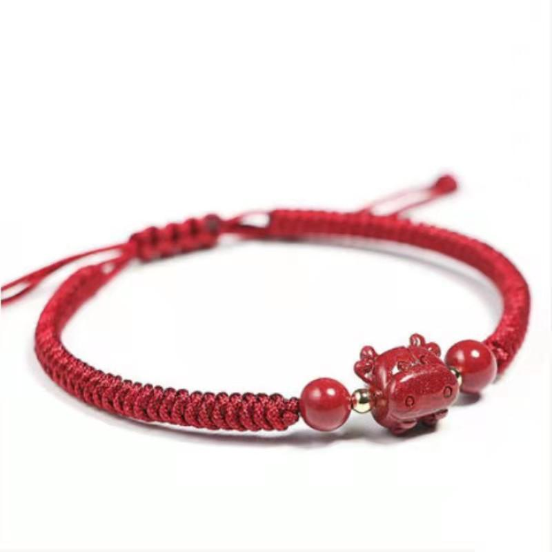 2021 Chinese New Year Zodiac OX Natural Red Cinnabar Bead Protection Bracelet - FengshuiGallary