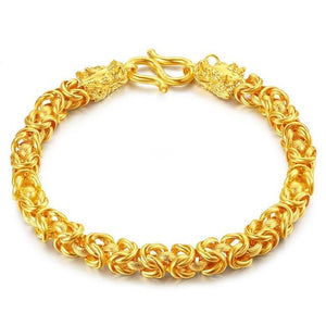 24k Gold Double Dragon Wealth Bracelet - FengshuiGallary