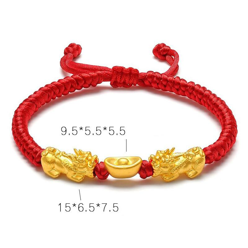 24K Gold Double Pixiu Ingot Wealth&Lucky Red Rope Bracelet - FengshuiGallary