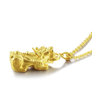 24K Gold Fengshui Pixu Wealth Pendant Necklace - FengshuiGallary