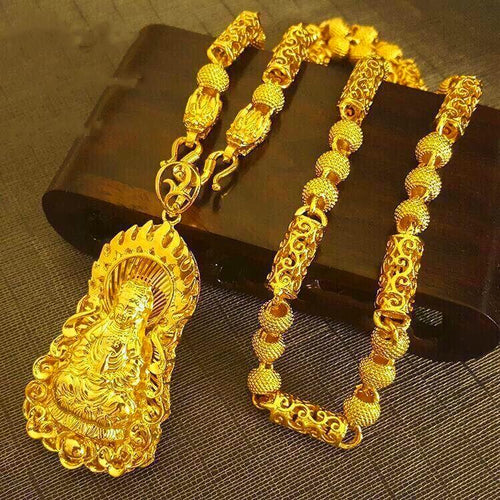 24K Gold Guanyin Buddha Pendant Double Dragon Protection Necklace - FengshuiGallary