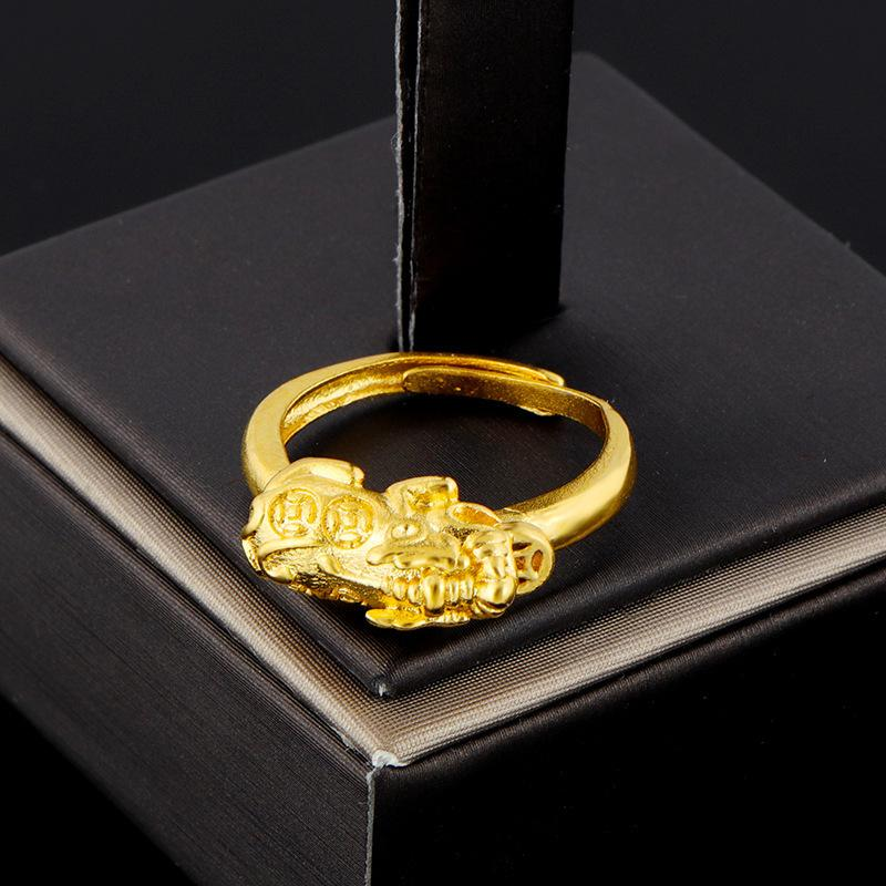 24K Gold Lucky Pixiu Ring(Adjustable) - FengshuiGallary