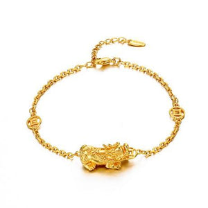 24K Gold Plated Pixiu Wealth Bracelet - FengshuiGallary