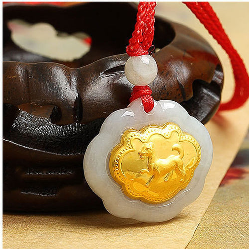 24k Gold 12 Chinese Zodiac Lucky Amulet White Jade Pendant Necklace - FengshuiGallary