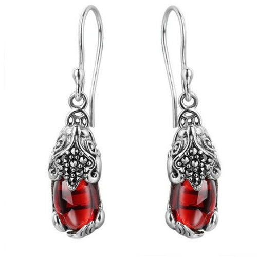 925 Silver Red Garnet Pixiu Lucky Ear Ring - FengshuiGallary
