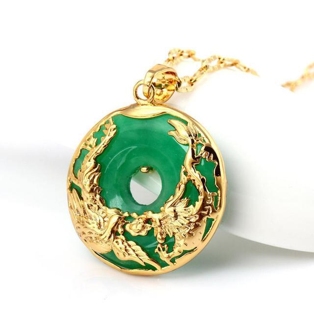 Auspicious Dragon & Phoenix Jade Gold Necklace - FengshuiGallary