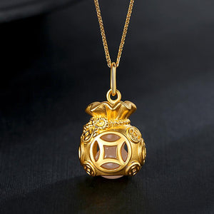 Auspicious Feng Shui Gold Money Bag Pendant Necklace - FengshuiGallary