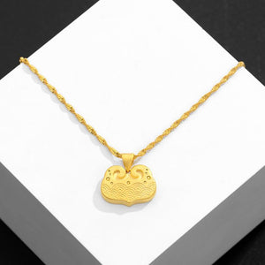 Auspicious Feng Shui Lucky Clouds Gold Pendant Necklace - FengshuiGallary