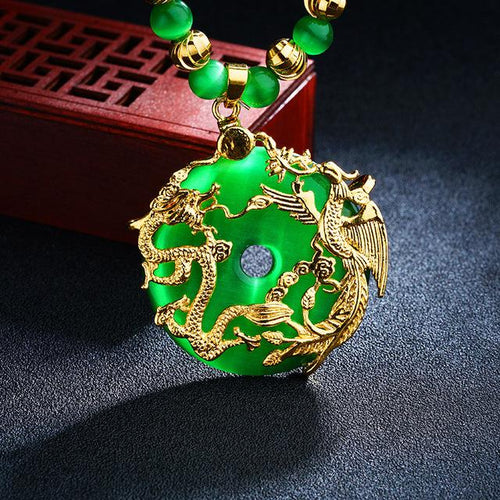 Auspicious Gold Dragon & Phoenix Cat`s Eye Pendant Necklace - FengshuiGallary