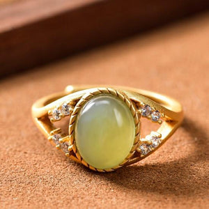 Auspicious Natural Hetian Green Jade Ring - FengshuiGallary