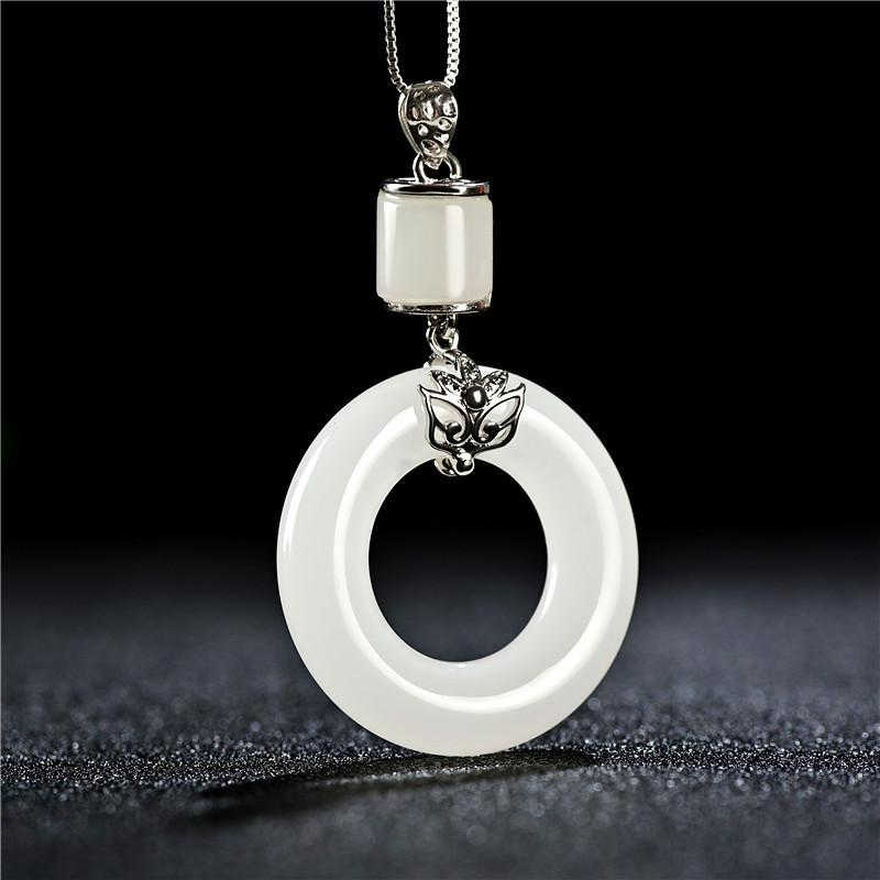 Auspicious Natural Hetian White Jade Pendant Necklace - FengshuiGallary