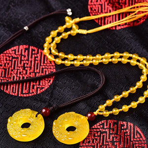 Auspicious Yellow Jade Pixiu Pendant Necklace - FengshuiGallary