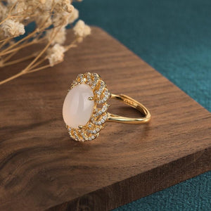 Cubic Zircon White Jade Wealth Ring - FengshuiGallary