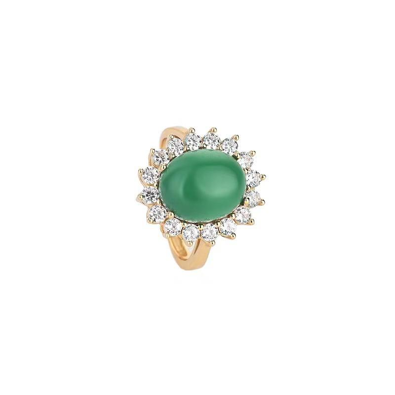 Cubic Zirconia Green Jade Wealth Ring - FengshuiGallary