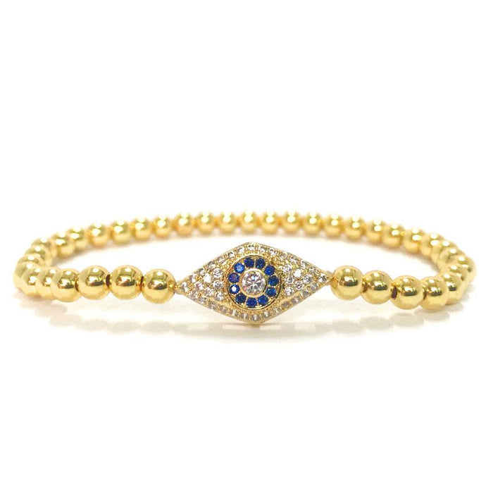 Diamond Studded Blue Evil Eye Protection Bracelet - FengshuiGallary