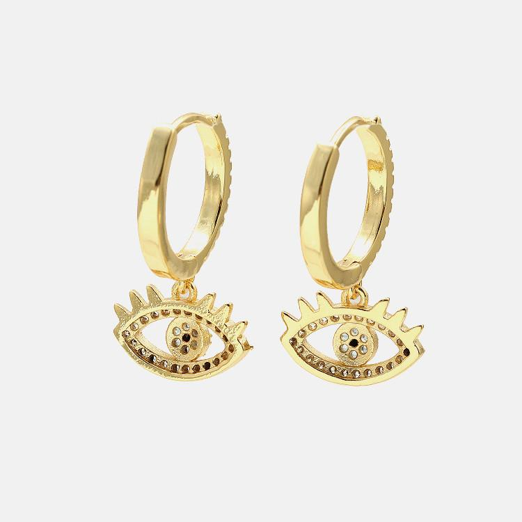 Diamond Studded Evil Eye Protection Ear Ring - FengshuiGallary