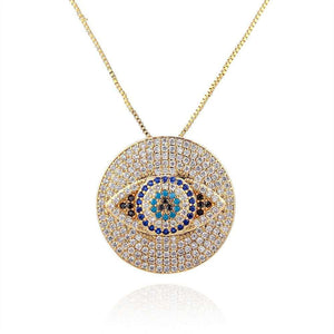 Diamond Studded Evil Eye Protection Pendant Necklace - FengshuiGallary
