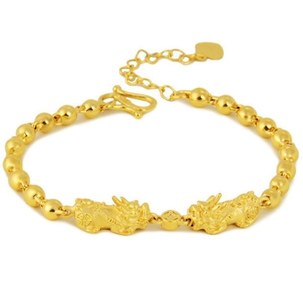 Double Gold Pixiu Fortune & Luck Bracelet - FengshuiGallary