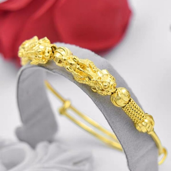 Double Pixiu Golden Wealth Bangle - FengshuiGallary