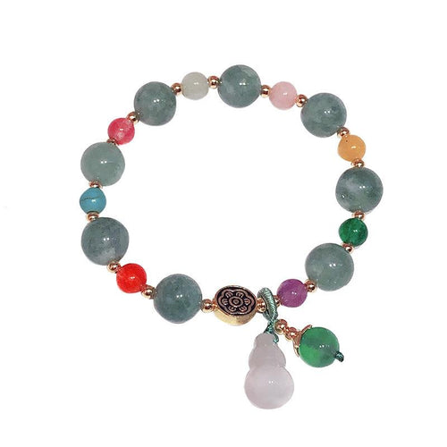 Feng Shui Calabash Green Jade Lotus Beads Wealth Bracelet - FengshuiGallary
