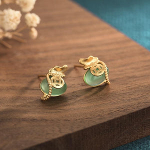 Feng Shui Coin Green Jade Gold Wealth Earring - FengshuiGallary