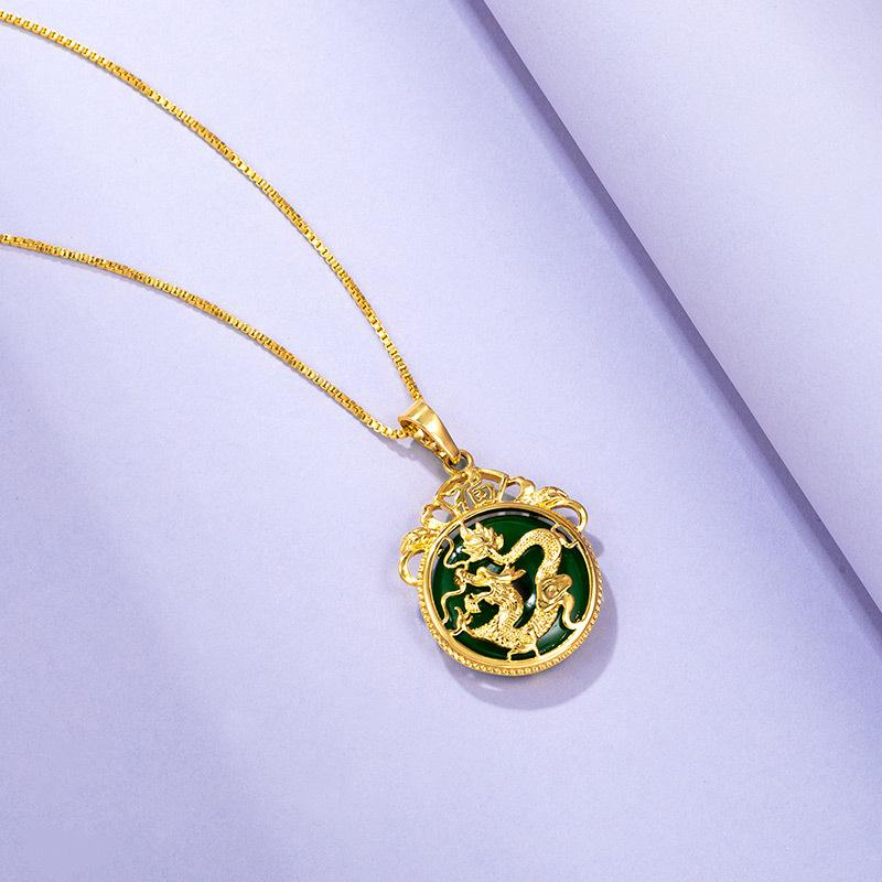 Feng Shui Dragon Green Jade Auspicious Pendant Necklace - FengshuiGallary