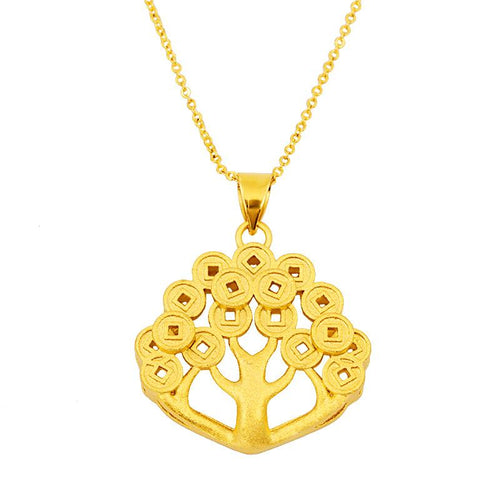 Feng Shui Gold Money Tree Pendant Lucky Necklace - FengshuiGallary