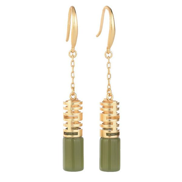 Feng Shui Green Jade Wealth Earring - FengshuiGallary