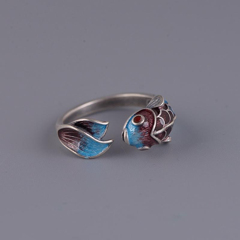 Feng Shui Koi Fish Wealth Silver Ring - FengshuiGallary