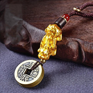 Feng Shui Wealth And Success Coin Gold Pixiu Key Chain - FengshuiGallary