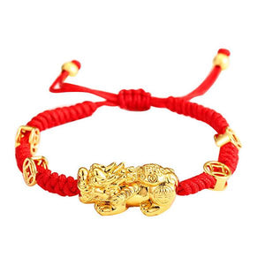 Feng Shui Wealth And Success Coin Gold Pixiu Red Rope Bracelet - FengshuiGallary