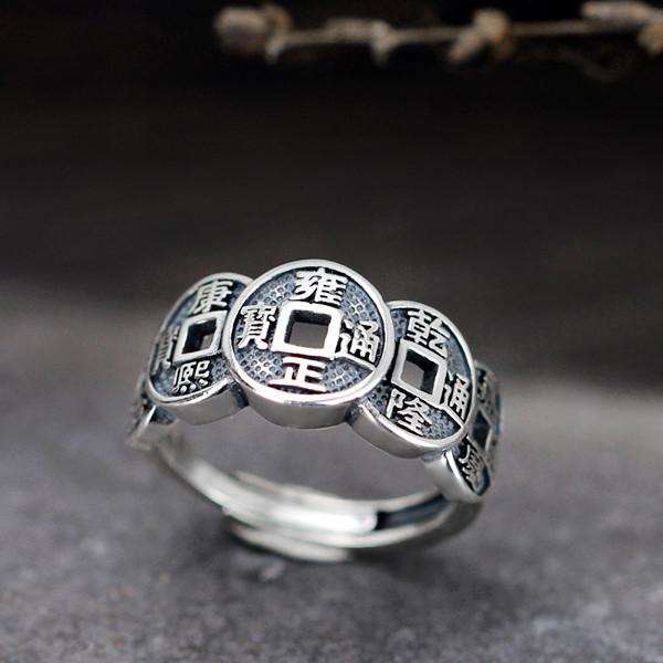 Feng Shui Wealth And Success Coins Silver Ring - FengshuiGallary